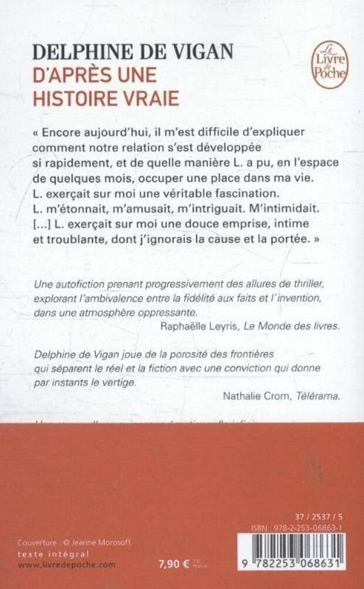 D Apres Une Histoire Vraie Delphine De Vigan 9782253068631 Club